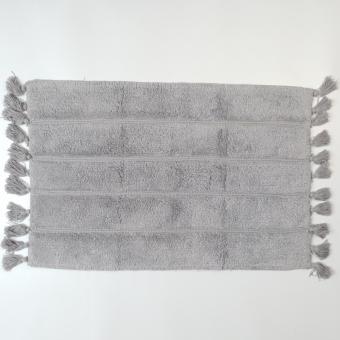 Badmat grijs met kwastjes