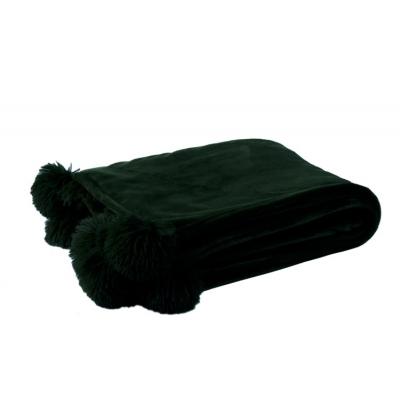 Plaid Pompom Polyester Zwart