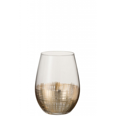 Drinkglas Raster Bol Glas Goud/Transparant