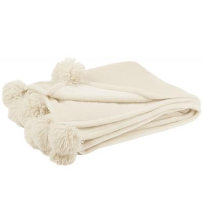 Plaid Pompom Polyester Beige