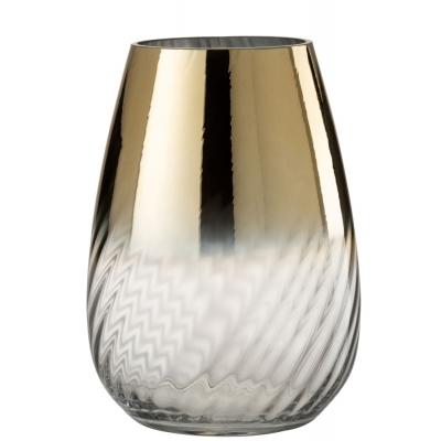 Vaas Streep Glas Goud/Transparant Large