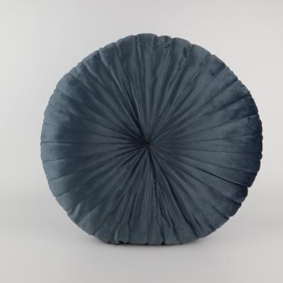 Kussen velvet rond dark blue