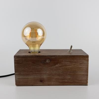 Tafellamp van hout inclusief LED-lamp