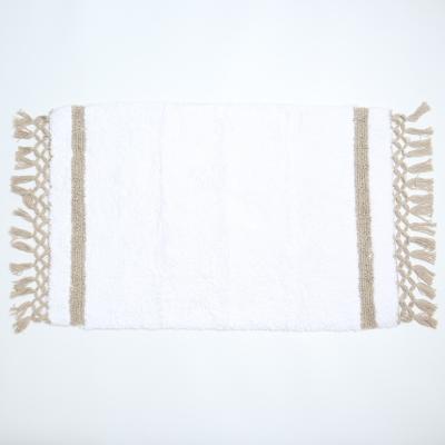 Badmat wit met kwastjes linnen