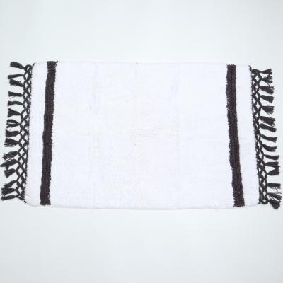 Badmat wit met kwastjes grijs/zwart