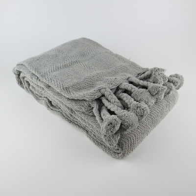 Plaid pompons grijs